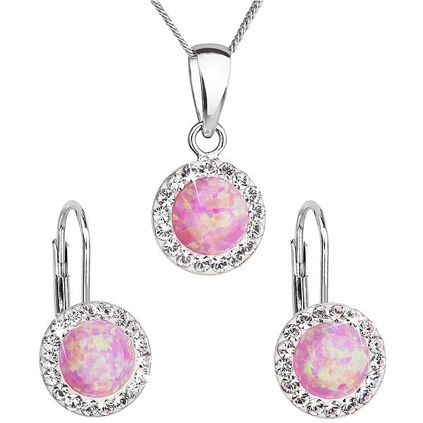 EVOLUTION GROUP 39160.1 light pink synth. opal set decorated with Swarovski® crystals (925/1000, - Jewellery Gift Set