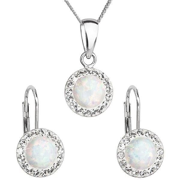 EVOLUTION GROUP 39160.1 bílý synt. opál souprava dekorovaná krystaly Swarovski® (925/1000, 2 g) - Dárková sada šperků