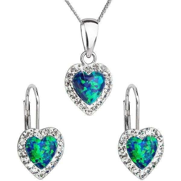 EVOLUTION GROUP 39161.1 zelený synt. opál Swarovski® (925/1000, 2 g) - Dárková sada šperků