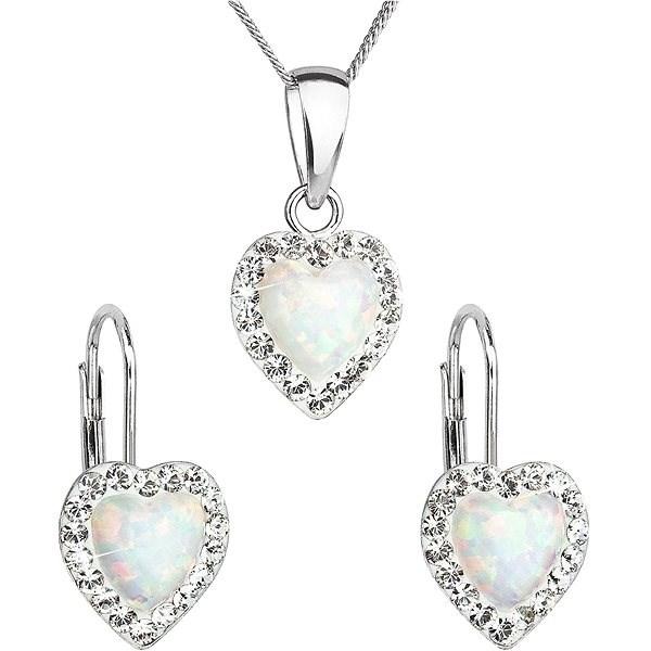 EVOLUTION GROUP 39161.1 bílý synt. opál souprava dekorovaná krystaly Swarovski® (925/1000, 2 g) - Dárková sada šperků