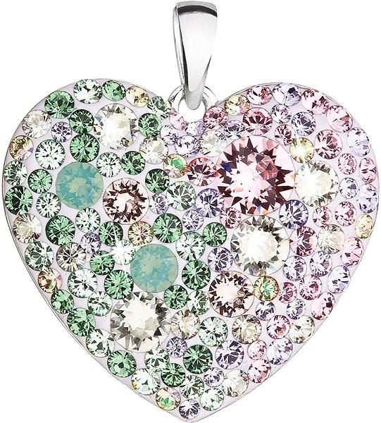 EVOLUTION GROUP 34243.3 srdce sakura dekorované krystaly Swarovski® (Ag925/1000, 2 g, mix barev) - Přívěsek