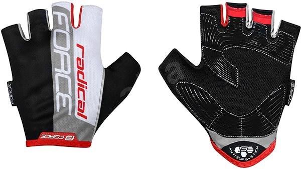 Force RADICAL, černo-bílo-červené M - Cyklistické rukavice