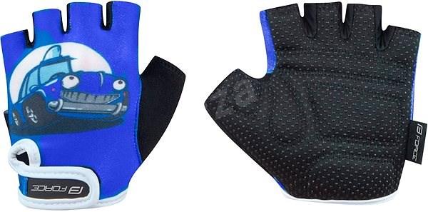 Force KID, modré-auto - Cyklistické rukavice