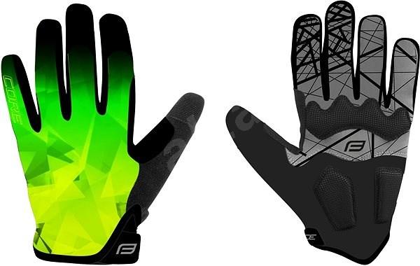 Force MTB CORE, fluo-zelené L - Cyklistické rukavice