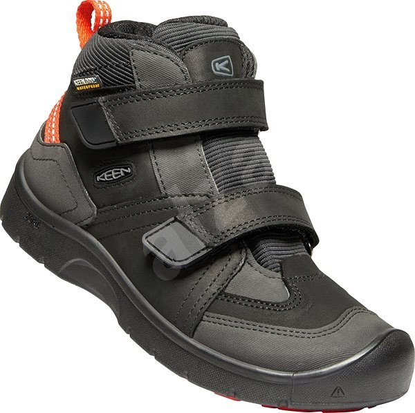 Keen Hikeport Mid Strap WP Jr. black/bright red EU 35 / 216 mm - Outdoorové boty