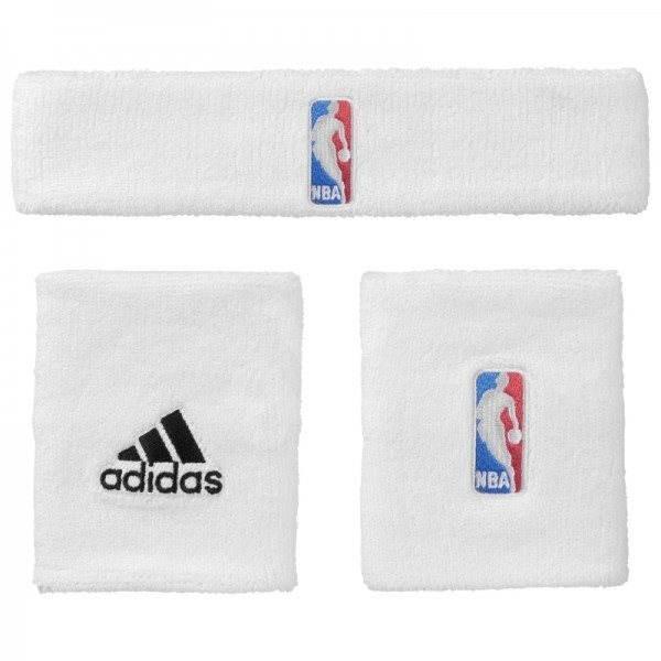 5782bff56e1 Adidas NBA Wristband prus Headband White Youth - Sada