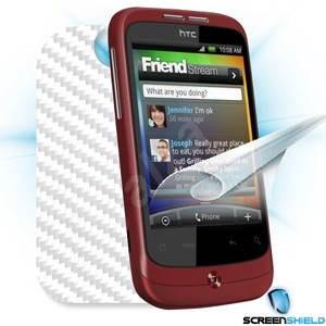 ScreenShield pro HTC Wildfire na displej telefonu + Carbon skin bílý - Ochranná fólie