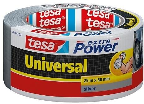 tesa Extra Power Universal, textilní, stříbrná, 25m:50mm - Lepicí páska