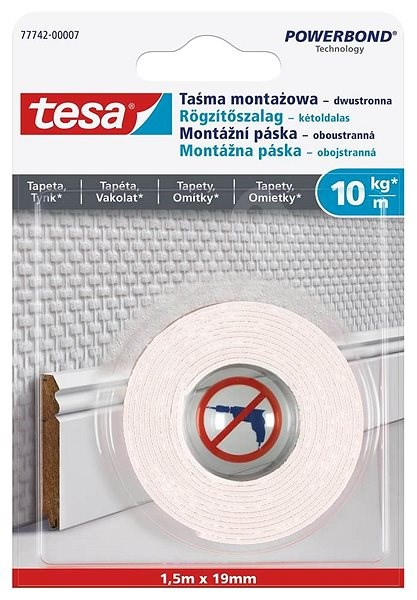 Tesa Mounting Tape for Wallpapers and Plaster 10kg/m - Double-sided tape