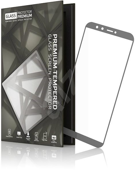 Tempered Glass Protector 0.3mm pro Honor 9 Lite šedivý rám - Ochranné sklo