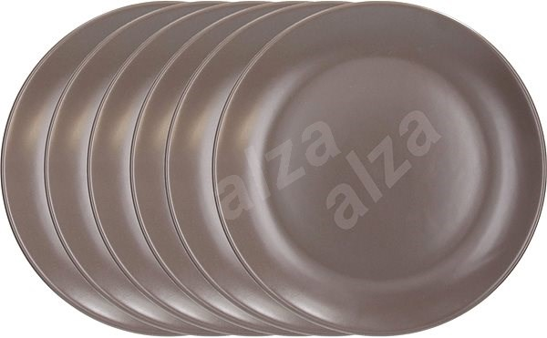 Tognana Sada mělkých talířů 26cm FABRIC TORTORA 6ks, hnědá - Sada talířů