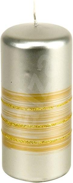 Proužek glitr Válec 55x120 stříbrná svíčka - Vánoční svíčka