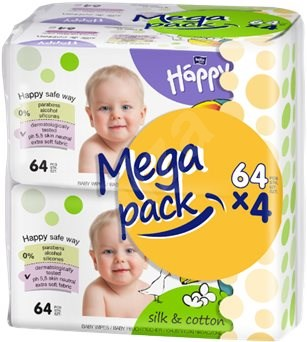 BELLA HAPPY silk and cotton (4x64 pieces) - Baby wet wipes