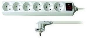 Solight Prodlužovací přívod, 6 zásuvek, bílý, vypínač, 5m - Prodlužovací kabel