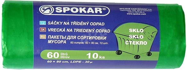 SPOKAR Sáčky na tříděný odpad 60 l, 10 ks, zelené - Pytle na odpad