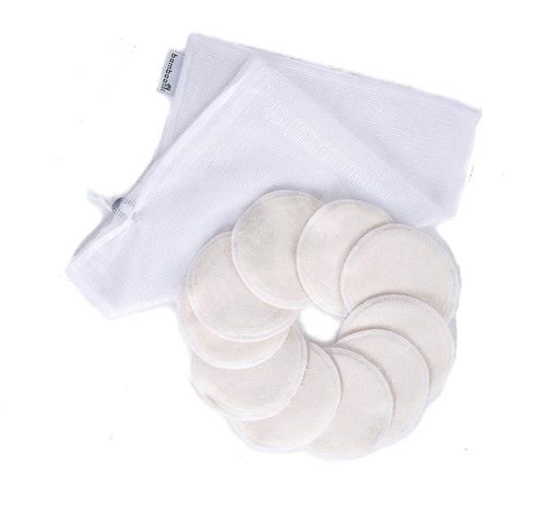 BAMBOOLIK Odličovací tampony z biobavlny pratelné 10 ks + síťka na praní - Odličovací tampony