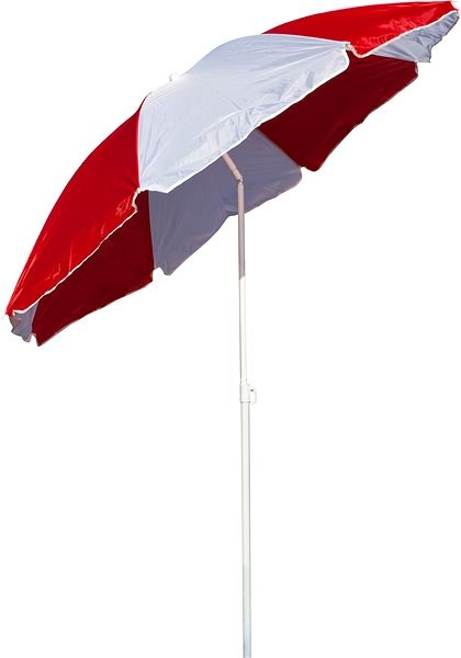 HAPPY GREEN Beach parasol with hinge 180cm, red and white - Sun umbrella