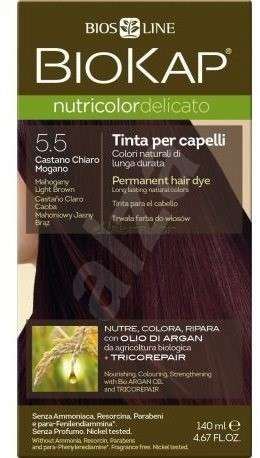 BIOKAP Nutricolor Delicato Mahogany Light Brown Gentle Dye 5.50 (140 ml) - Přírodní barva na vlasy