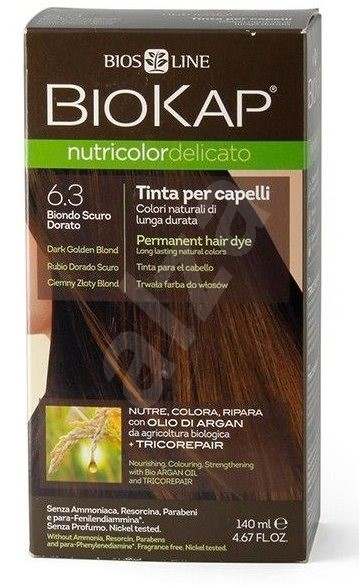 BIOKAP Nutricolor Delicato Dark Golden Blond Gentle Dye 6.30 (140 ml) - Přírodní barva na vlasy