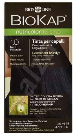BIOKAP Nutricolor Delicato Natural Black Gentle Dye 1.00 (140 ml) - Přírodní barva na vlasy