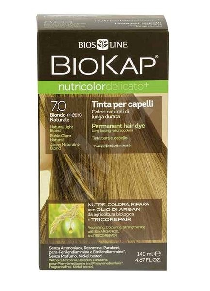 BIOKAP Nutricolor Delicato Natural Medium Blond Gentle Dye 7.0 (140 ml) - Přírodní barva na vlasy