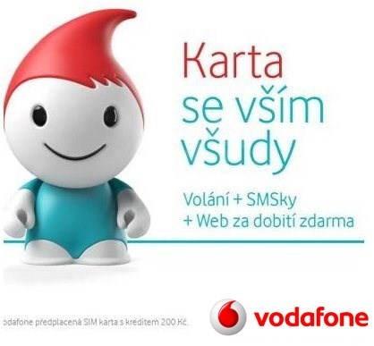 Vodafone karta se vším všudy s kreditem 200 Kč -