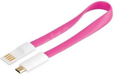PremiumCord kabel micro USB bílo-růžová 0.2m - Datový kabel