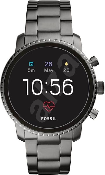 Fossil Explorist HR Smoke Stainless Steel - Chytré hodinky