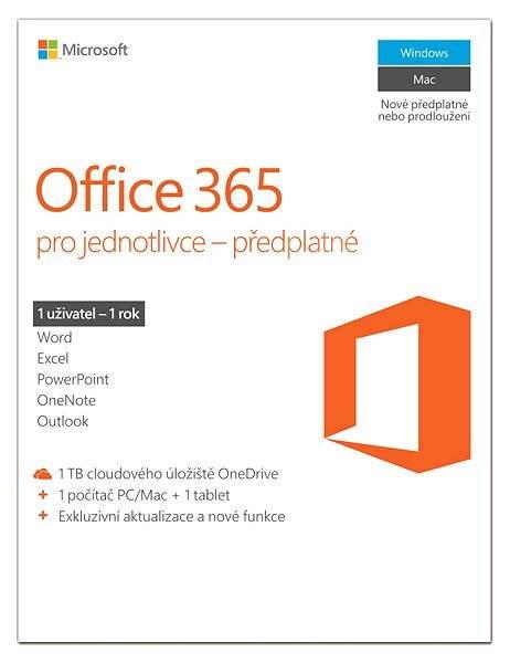 Microsoft Office 365 pro jednotlivce s 1TB úložištěm – jen při nákupu nového PC, notebooku nebo MAC  - Elektronická licence
