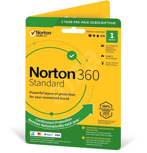 Symantec Norton 360 Standard 10GB CZ, 1 uživatel, 1 zařízení, 12 měsíců (elektronická licence) - Elektronická licence