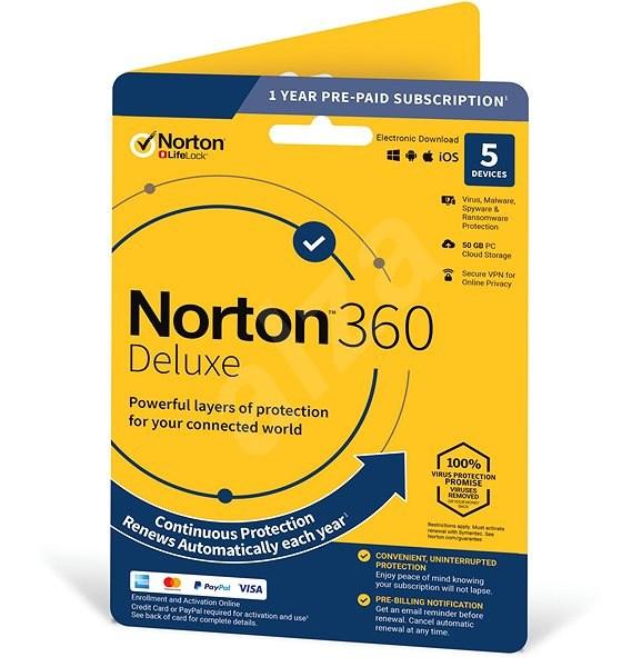 Symantec Norton 360 Deluxe 50GB CZ, 1 uživatel, 5 zařízení, 12 měsíců (elektronická licence) - Elektronická licence