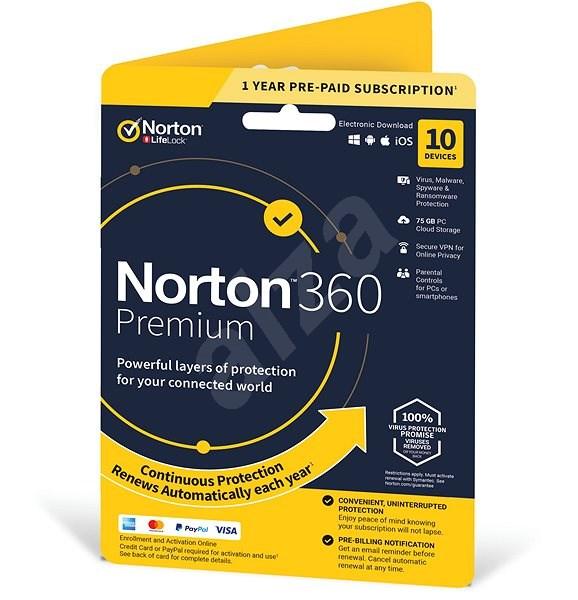 Symantec Norton 360 Premium 75GB CZ, 1 uživatel, 10 zařízení, 12 měsíců (elektronická licence) - Elektronická licence