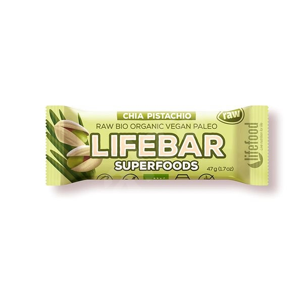 Lifefood Lifebar Plus s mladým ječmenem a chia semínky BIO – 15 ks - Raw tyčinka