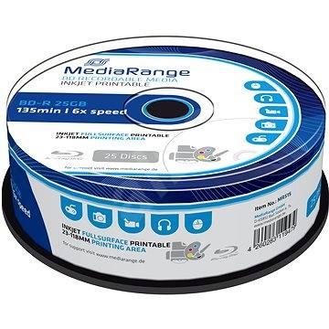 Mediarange BD-R BLU-RAY 25 GB 6x spindl 25 ks Inkjet Printable - Média