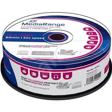 Mediarange CD-R 700 MB 52x spindl 25 ks Inkjet Printable - Média