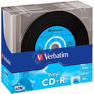 VERBATIM CD-R AZO 700MB, 52x, vinyl, slim case 10 ks - Média
