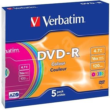 VERBATIM DVD-R AZO 4.7GB, 16x, colour, slim case 5 ks - Média