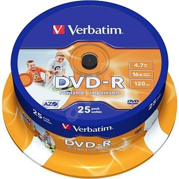 VERBATIM DVD-R AZO 4.7GB, 16x, printable, spindle 25 ks - Média