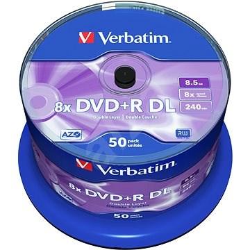 VERBATIM DVD+R DL AZO 8.5GB, 8x, spindle 50 ks - Média