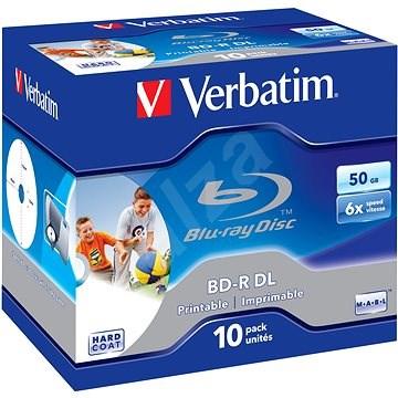 VERBATIM BD-R DL 50GB, 6x, printable, jewel case 10 ks - Média