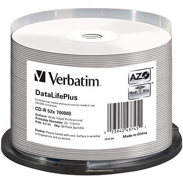 VERBATIM CD-R DataLifePlus 700MB, 52x, white printable, spindle 50 ks - Média