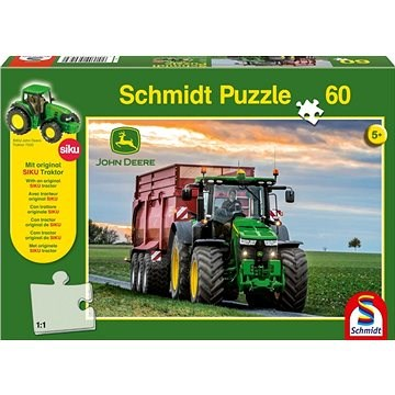 Schmidt Puzzle John Deere Traktor 8370R 60 dílků + model SIKU - Puzzle