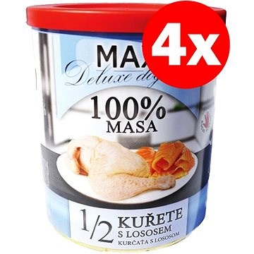 MAX deluxe 1/2  kuřete s lososem 800 g, 4 ks - Konzerva pro psy