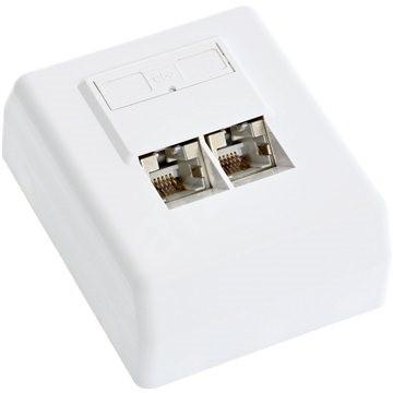 Datacom CAT5E, STP, 2x RJ45, na omítku - Zásuvka