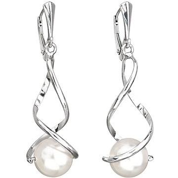 EVOLUTION GROUP 31224.1 visací kulaté dekorované perlou Swarovski® (Ag925/1000, 4,5 g, bílé) - Náušnice