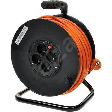 PremiumCord prodlužovací kabel 250V 25m buben, 4x zásuvka, oranžový - Napájecí kabel