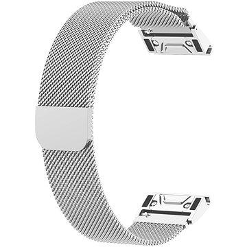 Eternico Milanese Band Steel Silver Buckle stříbrný pro Garmin 20 (AET-GRQRMIL25S-20)