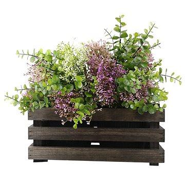 AMADEA Dřevěný obal na dva květináče - tmavý, 32x17x15cm (40731-00)