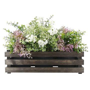 AMADEA Dřevěný obal na tři květináče - tmavý, 47x17x15cm (40770-00)
