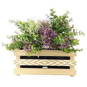 AMADEA Dřevěný obal na dva květináče s moderním motivem kosočtverců, 32x17x15cm (40755-00)
